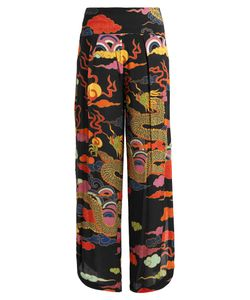 ADRIANA DEGREAS | Dragon-Print Wide-Leg Crepe Trousers