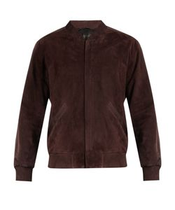 Calvin Klein Collection | Satin-Trimmed Suede Bomber Jacket