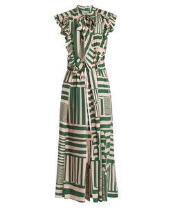 Preen by Thornton Bregazzi   Willa Geometric Striped-Print Silk Midi Dress