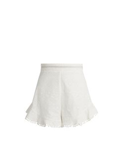 Zimmermann | Caravan Ruffled-Hem Cotton Shorts