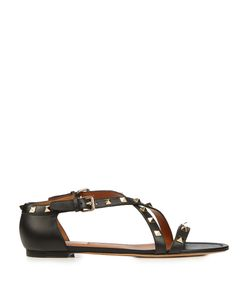 Valentino | Rockstud Cross-Strap Leather Sandals