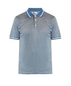Brioni | Contrast-Collar Cotton And Silk-Blend Polo Shirt