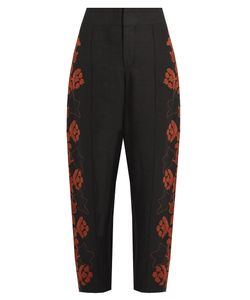 Chloé | Floral-Embroidered High-Rise Linen Trousers