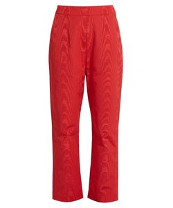Isa Arfen | High-Rise Faille Cropped Trousers