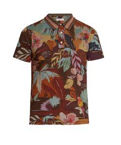 Valentino | Tropical-Print Cotton-Jersey Polo Shirt