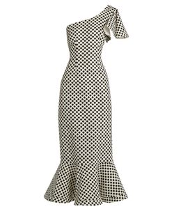 Saloni | Greta Polka-Dot Print Double-Crepe Dress