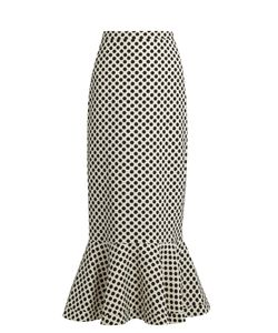 Saloni | Portia Polka-Dot Print Double-Crepe Skirt