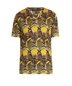 Etro | Geometric-Print V-Neck Linen T-Shirt
