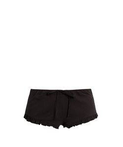 Skin | Ruffled-Hem Ribbed-Cotton Shorts
