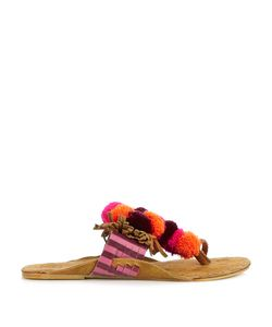 Figue | Salome Fringed Pompom Suede Sandals