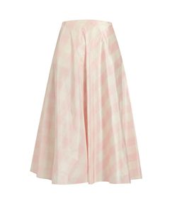 Valentino | Checked Silk-Taffeta A-Line Midi Skirt