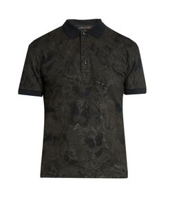 Valentino | Butterfly-Print Cotton-Piqué Polo Shirt