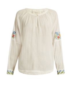 The Great | The Sonnet Floral-Embroidered Cotton Top