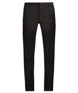 Lanvin | Embroidered Slim-Fit Wool Tuxedo Trousers