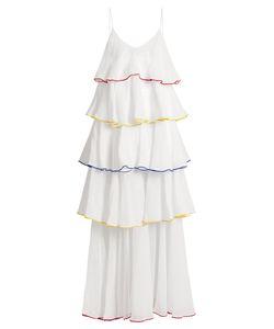 Lisa Marie Fernandez   Flounce-Trimmed V-Neck Cotton Dress
