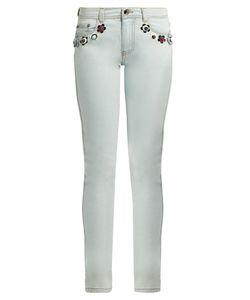 Fendi | Flower Stud-Embellished Mid-Rise Skinny Jeans
