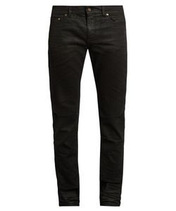 Saint Laurent | Distressed Coated Skinny Jeans