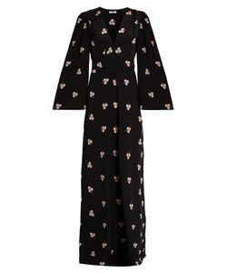 Vilshenko   Imogen Clover-Print V-Neck Silk Gown