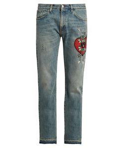 Gucci | Panther-Appliqué Slim-Fit Jeans