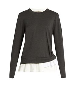 Muveil | Ruffled-Hem Crew-Neck Sweater
