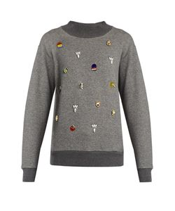 Muveil | Embellished Cotton-Jersey Sweatshirt