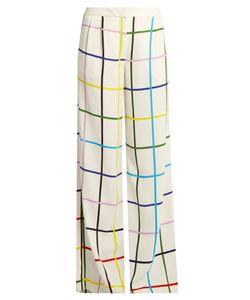Mary Katrantzou | Donnis Grid-Print Wide-Leg Trousers