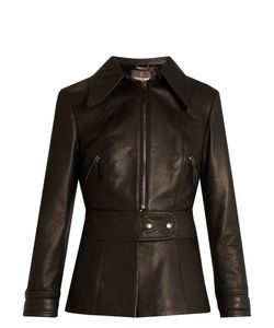 Roberto Cavalli | Point-Collar Leather Jacket