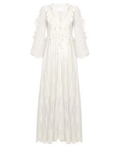 Zimmermann | Valour Embroidered Silk-Crepon Dress