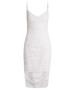 Versace | V-Neck Ruched Tulle Slip Dress