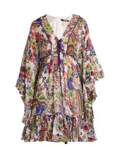 Roberto Cavalli | Floral-Print Ruffled Silk Dress