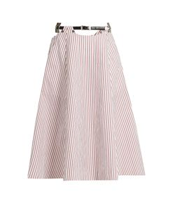 Toga | Striped Cotton Midi Skirt