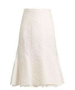 Oscar de la Renta | Floral-Cloqué Cotton-Blend Skirt