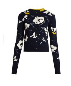 Barrie | Moonflowers Intarsia-Knit Cashmere Cardigan