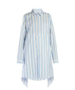 Balenciaga | Fold-Back Striped Shirtdress