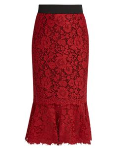 Dolce & Gabbana | Cordonetto-Lace Fluted-Hem Pencil Skirt