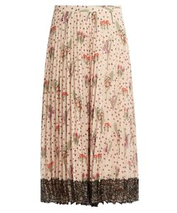 RED Valentino | Blooming Garden-Print Pleated Crepe Skirt