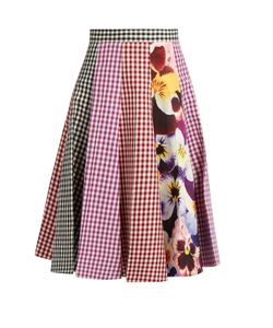 Christopher Kane | Gingham And Pansy-Print A-Line Cotton Skirt