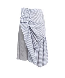J.W.Anderson | Patchwork Ruched Striped Cotton Skirt
