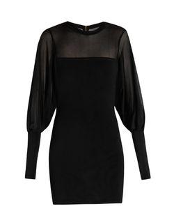 Balmain   Mesh-Insert And Sleeves Mini Dress