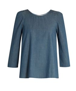 The Great | The Darling Ruched-Shoulder Cotton-Chambray Top