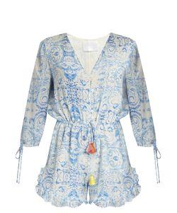 Athena Procopiou | The Midsummers Sky Silk Playsuit