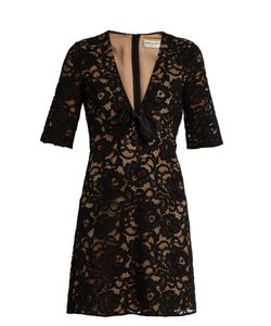 Saint Laurent | Deep V-Neck Guipure-Lace Mini Dress