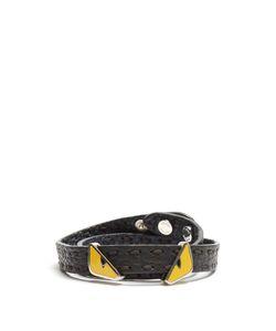 Fendi | Bag Bugs Double-Wrap Leather Bracelet
