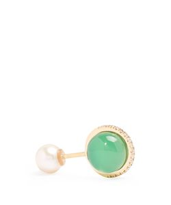 Delfina Delettrez | Diamond Emerald Agate Earring