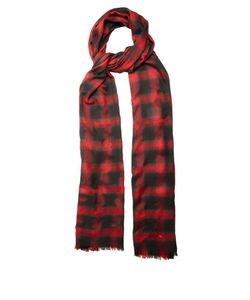 Saint Laurent | Checked Wool Silk And Cashmere-Blend Scarf