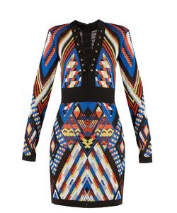 Balmain | Geometric-Pattern Knitted Dress