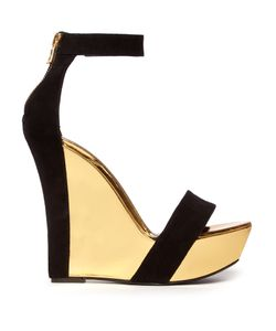 Balmain | Bi-Colour Leather And Suede Wedge Sandals