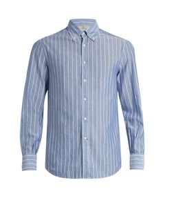 Brunello Cucinelli | Button-Down Collar Cotton And Linen-Blend Shirt
