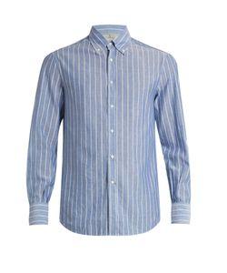 Brunello Cucinelli | Button-Down Collar Cotton And Linen-Blend Shirt