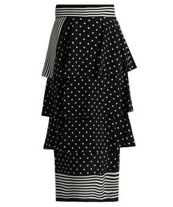 Stella McCartney | Stripe And Polka-Dot Print Silk Skirt